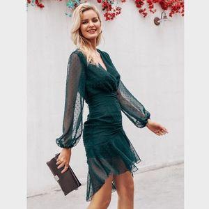 Polka Dot Ruffle Ruched V-Neck Sheath Green Dress